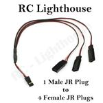 JR Plug Harness  1 male JR plug to 3 female JR plug