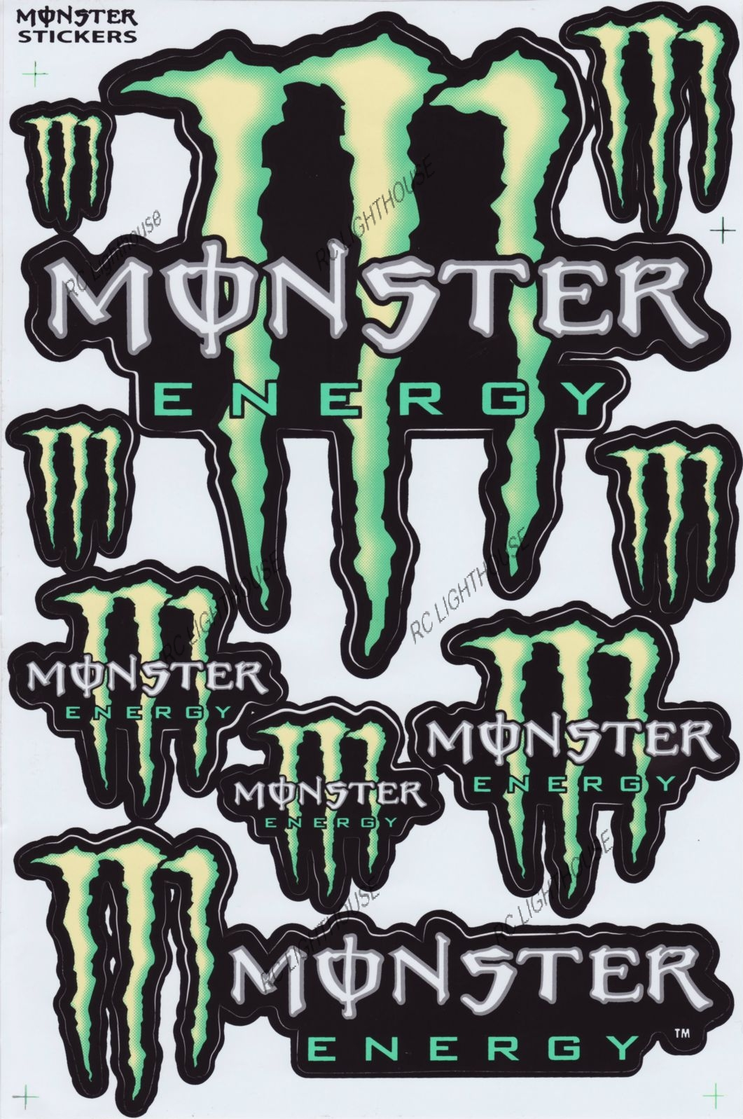 monster energy drink sticker sheet d 104 rc lighthouse. Black Bedroom Furniture Sets. Home Design Ideas